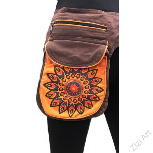 övtáska, egyedi, pamut, textil, táska, virág, mandala, mintás, színes, barna, narancs, kiegészítő, trend. női, férfi divat