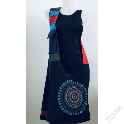 pamut, kék, narancs, barna, színes, textil, mandalás, válltáska, egyedi, női, kiegészítő, divat, trend