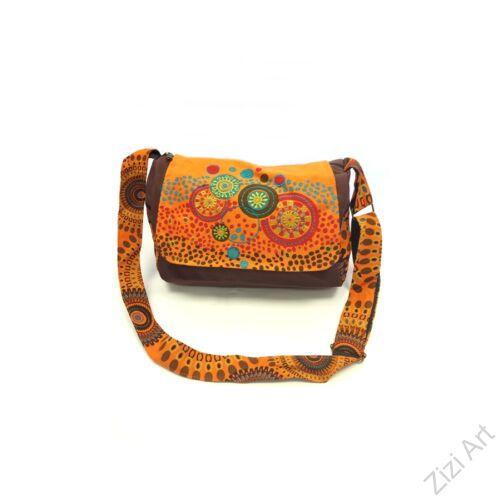 textil, táska, válltáska, kék, piros, fekete, kiwi, zöld, narancs, piros, színes, mandalás, hímzett, virágos