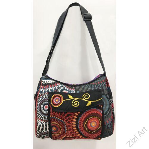 textil, pamut, vászon, táska, válltáska, fehér, narancs, lila, piros, sárga, szürke, kék, színes, patchwork, mandala