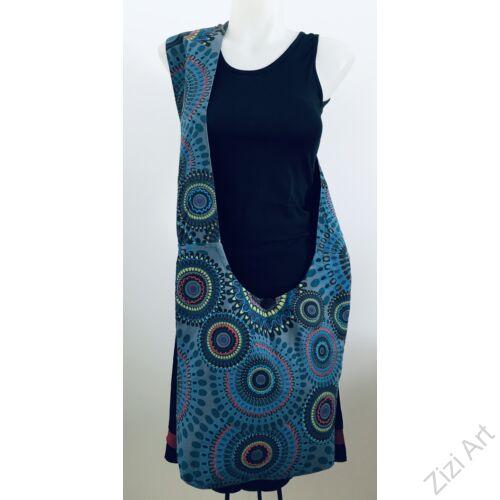 pamut, szürke, türkizkék, lila, zöld, kék, piros, színes, textil, mandalás, válltáska, egyedi, női, kiegészítő, divat, trend