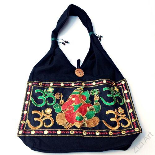 textil, táska, válltáska, elefántos, színes, fekete