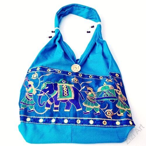 textil, táska, válltáska, elefántos, színes, világoskék