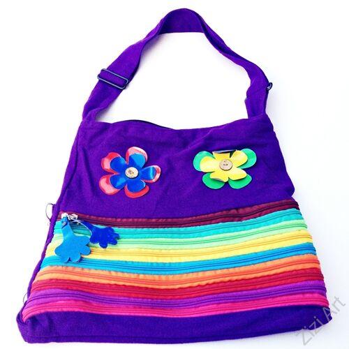 textil, táska, válltáska, csíkos, lila