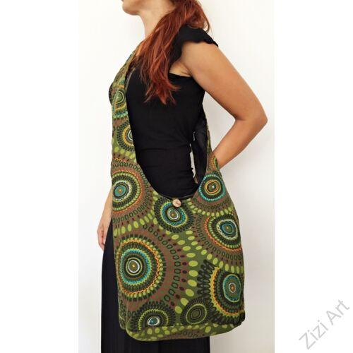 pamut, keki, zöld, színes, textil, mandalás, válltáska, egyedi, női, kiegészítő, divat, trend