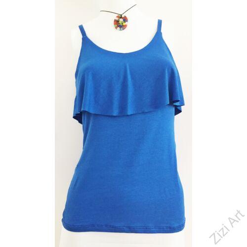 egyszínű, fodros, felső, kék, fehér, sárga, piros, fekete, kék, pamut, póló, trikó, női, olasz, divat, trend
