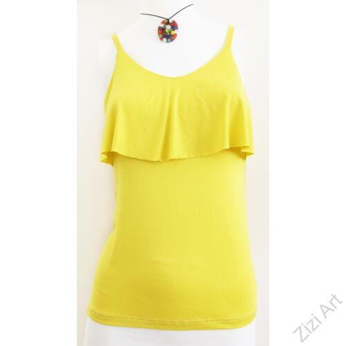 egyszínű, fodros, felső, fehér, sárga, piros, fekete, kék, pamut, póló, trikó, női, olasz, divat, trend