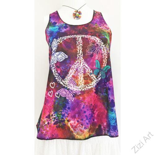 lila, színes, kék, pink, peace jel, mintás, ujjatlan, pamut, felső, női, divat, trend, nyári, sportos, elegáns, bohém, extravagáns