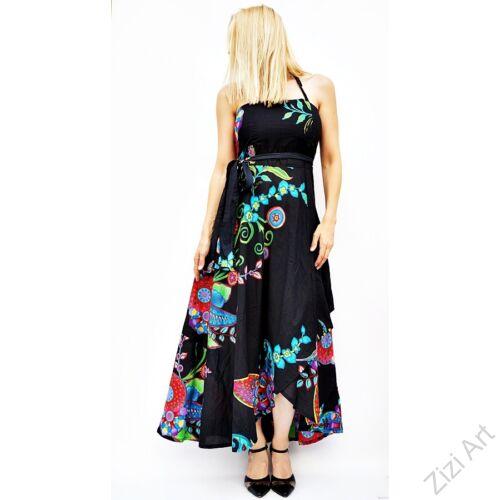fekete, narancs, zöld, szürke, piros, hosszú, pamut, ruha, Nepál, átlapolt, lapruha, bő, színes, viráginda, megkötős, szellős, könnyű, különleges, női, divat, trend, webshop
