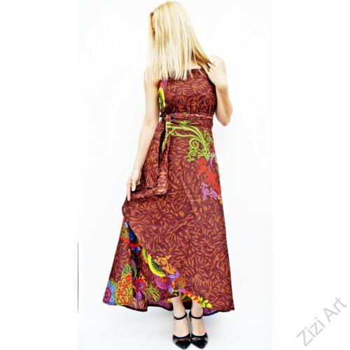 barna, narancs, zöld, szürke, piros, hosszú, pamut, ruha, Nepál, átlapolt, lapruha, bő, színes, viráginda, megkötős, szellős, könnyű, különleges, női, divat, trend, webshop