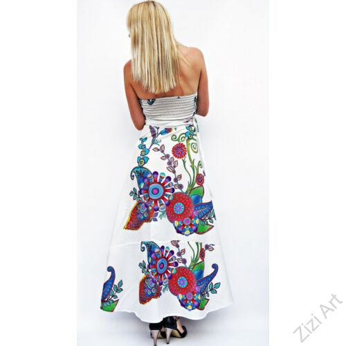 fehér, kék, piros, hosszú, pamut, ruha, Nepál, átlapolt, lapruha, bő, színes, körös, megkötős, szellős, könnyű, különleges, női, divat, trend, webshop