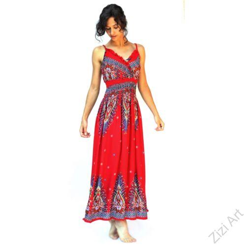piros, kék, hosszú, viszkóz, ujjatlan, ruha, spagettipántos, levél, mintás, Thaiföld, bő, színes, szellős, könnyű, különleges, női, divat, nyári, trend, webshop