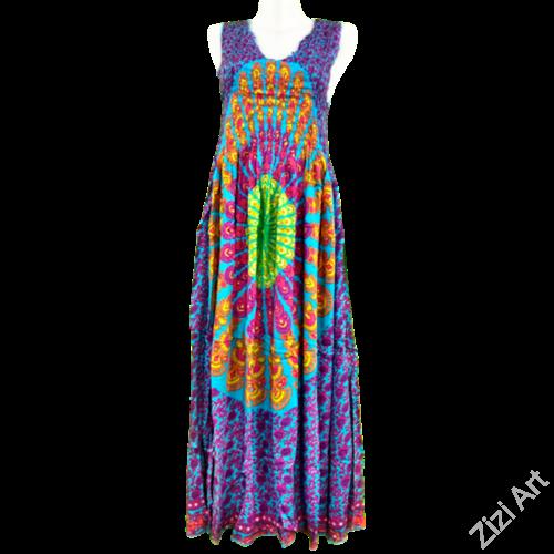 hosszú, viszkóz, ujjatlan, ruha, bő, színes, mandala, pávatoll, mintás, szellős, női, divat, trend, webshop, kék, zöld, fekete, narancs, pink, sárga, lila, piros, barna