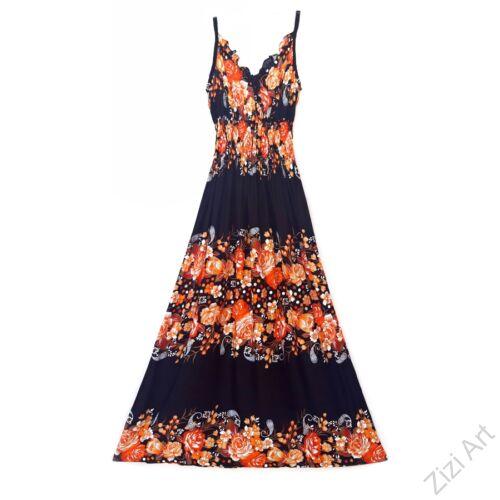 hosszú, ruha, fekete, narancs, viszkóz, ujjatlan, spagettipántos, virág, mintás, Thaiföld, bő, színes, szellős, könnyű, különleges, női, divat, nyári, trend, webshop