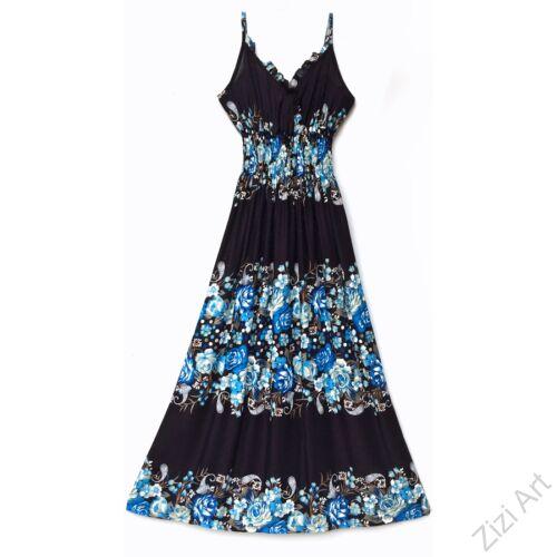 hosszú, ruha, fekete, kék, viszkóz, ujjatlan, spagettipántos, virág, mintás, Thaiföld, bő, színes, szellős, könnyű, különleges, női, divat, nyári, trend, webshop