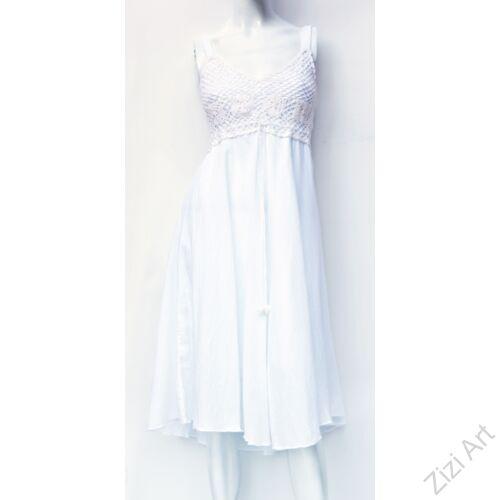 fehér, midi, ruha, pamut, ujjatlan, pántos, levél, mintás, Thaiföld, bő, színes, szellős, könnyű, különleges, női, divat, nyári, trend, webshop