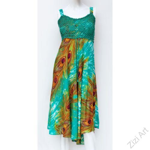 zöld, midi, ruha, viszkóz, ujjatlan, pántos, pávatoll, mintás, zöld, narancs, sárga, Thaiföld, bő, színes, szellős, könnyű, különleges, női, divat, nyári, trend, webshop