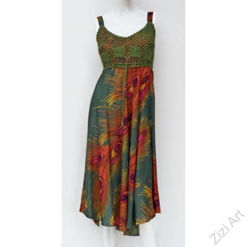 sötétzöld, midi, ruha, viszkóz, ujjatlan, pántos, pávatoll, mintás, zöld, narancs, sárga, Thaiföld, bő, színes, szellős, könnyű, különleges, női, divat, nyári, trend, webshop