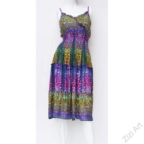 szivárvány, térd, ruha, midi, lila, pink. zöld, kék, viszkóz, ujjatlan, spagettipántos, virág, pávatoll, mintás, Thaiföld, bő, színes, szellős, könnyű, különleges, női, divat, nyári, trend, webshop