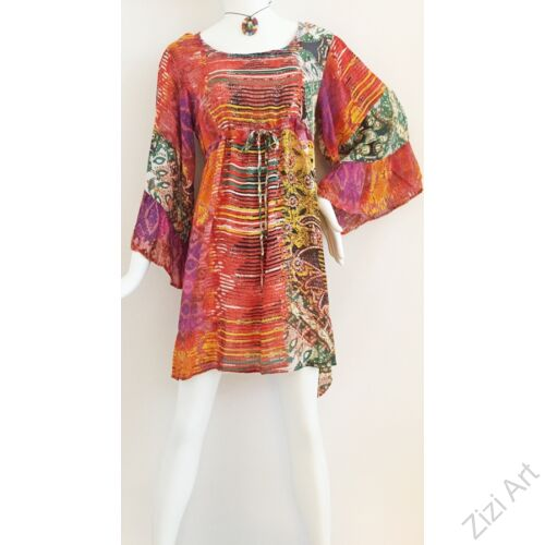 narancs, zöld, sárga, harang ujjú, viszkóz, nyári, felső, ruha, török, bő, színes, absztrakt, mintás, csíkos, szellős, könnyű, különleges, női, divat, trend, webshop