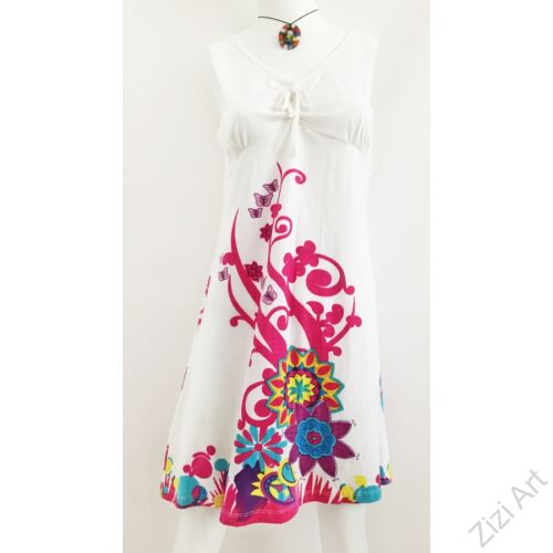 fehér, színes, pink, rózsaszín, kék, sárga, virágos, ujjatlan, pamut, ruha, tunika, női, divat, ruházat, trend, India, egzotikus, egyedi, különleges, bohém, extravagáns, elegáns