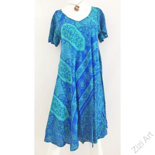színes, kék, azúr, egzotikus, mintás, A-vonalú, rövid ujjú, selyem, midi, ruha, női, egyedi, különleges, női, divat, trend, török