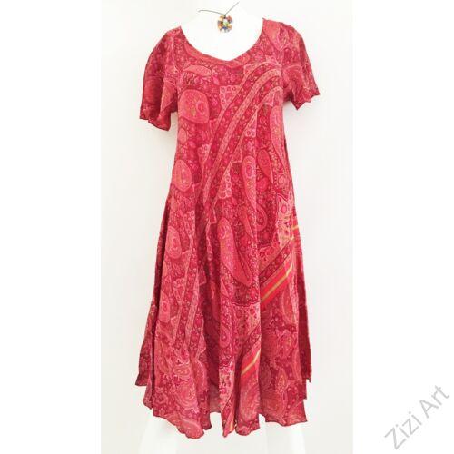 színes, mályva, bordó, piros, egzotikus, mintás, A-vonalú, rövid ujjú, selyem, midi, ruha, női, egyedi, különleges, női, divat, trend, török