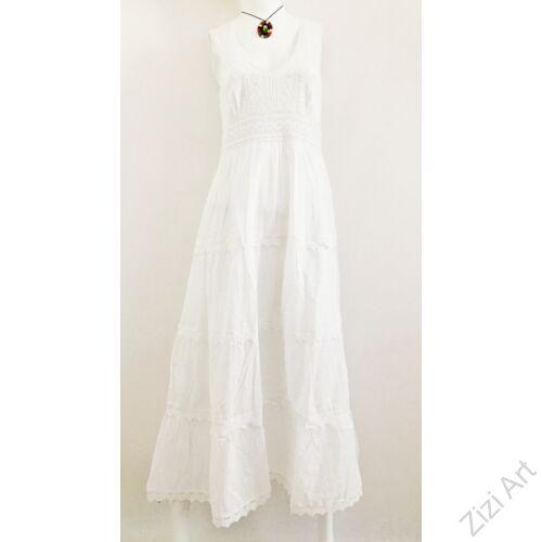 fehér, hosszú, pamut, csipke, horgolt, vállpántos, ruha, török, karcsúsított, A-vonalú, virágos, szellős, alkalmi, könnyű, különleges, női, divat, trend, webshop