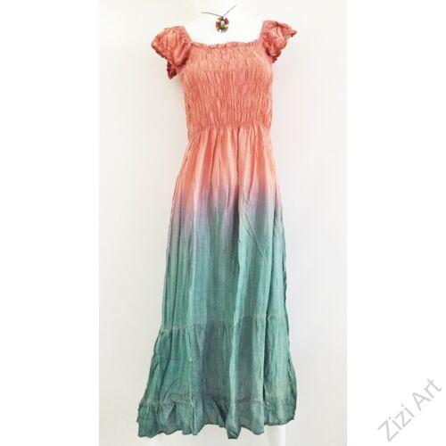 rózsaszín, kék, zöld, azúr, pasztell, világos, hosszú, viszkóz, ruha, rövid ujjú, Indonéz, színes, batikolt, gumírozott, szellős, könnyű, kényelmes, különleges, női, divat, trend, webshop