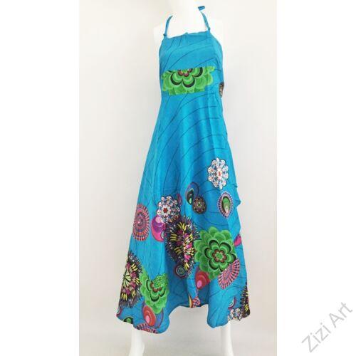 élénk, világos, kék, piros, zöld, hosszú, pamut, ruha, Nepál, átlapolt, lapruha, bő, színes, körös, megkötős, szellős, könnyű, különleges, női, divat, trend, webshop