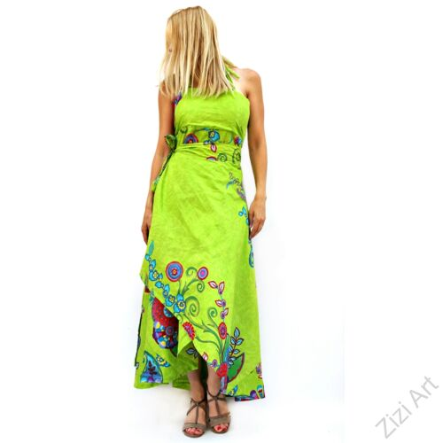 kiwi, zöld, virágos, kék, piros, hosszú, pamut, ruha, Nepál, átlapolt, lapruha, bő, színes, megkötős, szellős, könnyű, különleges, női, divat, trend, webshop