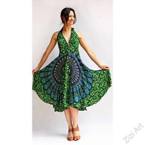 mandalás, kék, kiwi, zöld, fekete, viszkóz, hosszú, ruha, Indonéz, free size, bő, színes, körös, spagetti, nyak, megkötős, pántos, gumírozott, szellős, könnyű, különleges, női, divat, trend, webshop