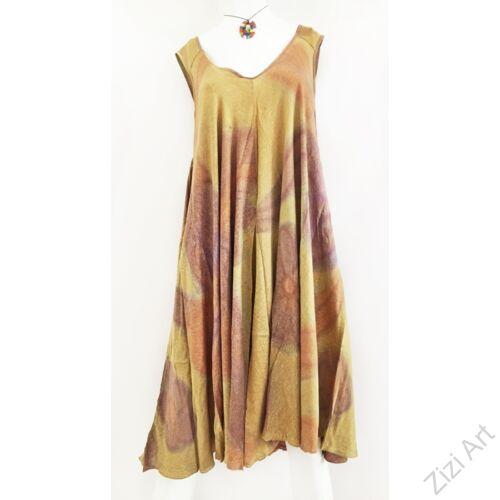 bézs, barna, drapp, világos, hosszú, viszkóz, ruha, rövid ujjú, Indonéz, színes, batikolt, gumírozott, szellős, könnyű, kényelmes, különleges, női, divat, trend, webshop