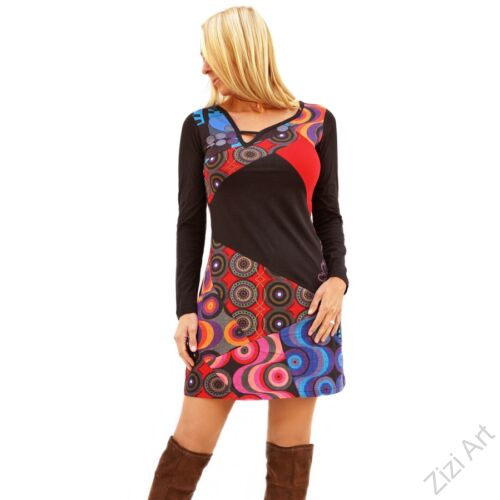fekete, piros, kék, patchwork, mandala, kör, absztrakt, mintás, hosszú ujjú, rövid, ruha, Nepál, egyedi, vidám, elegáns, különleges, női, divat, bohém, trend