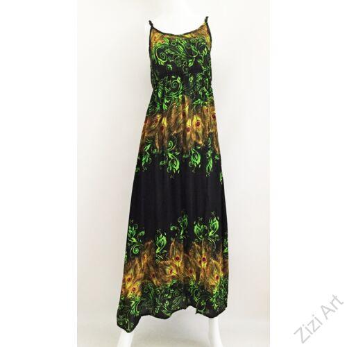 kiwi, zöld, sárga, narancs, fekete, hosszú, viszkóz, ruha, Thaiföld, bő, színes, körös, megkötős, szellős, könnyű, különleges, női, divat, trend, webshop