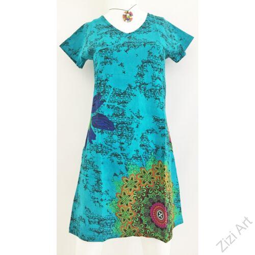 pillangó ujjas, virágos, mandalás, türkizzöld, zöld, nyomott mintás, rövid ujjú, pamut, tunika, ruha, Nepál, egzotikus, egyedi, vidám, különleges, női, divat, bohém, trend, nyaralás, tengerpart, nyár