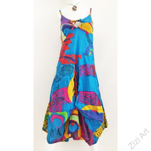 világos, kék, puffos, hagymácska fazonú, vállpántos, ruha, virágindás, kényelmes, zsebes, nyaralós, bohém,  nepáli, színes, pamut, különleges, egyedi