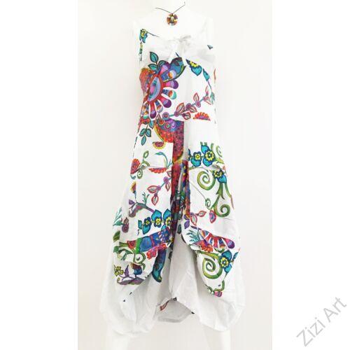 fehér, színes, virágos, pamut, puffos, zsebes, hosszú, ruha, spagettipántos, nyár, egyedi, egzotikus, női, divat, trend, webshop
