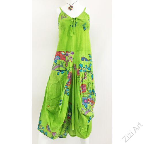 kiwi, zöld, színes, virágos, pamut, puffos, zsebes, hosszú, ruha, spagettipántos, nyár, egyedi, egzotikus, női, divat, trend, webshop