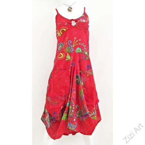piros, színes, virágos, pamut, puffos, zsebes, hosszú, ruha, spagettipántos, nyár, egyedi, egzotikus, női, divat, trend, webshop