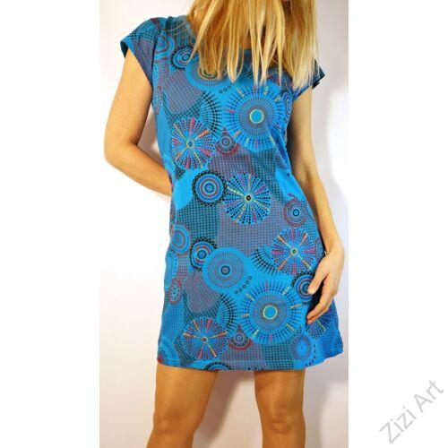 világos, kék, színes, rövid, ujjú, pamut, mini, ruha, tunika, női, divat, ruházat, trend, India, egzotikus, egyedi, különleges, bohém, extravagáns, elegáns