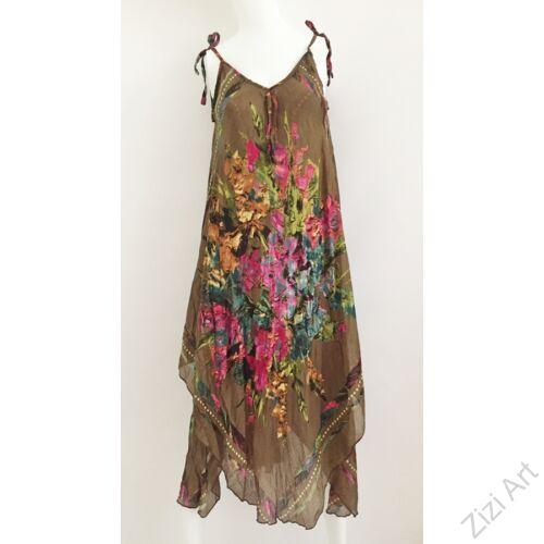 barna, pink, piros, fekete, hosszú, pamut, géz, ruha, török, bő, színes, virágos, spagettipántos, szellős, könnyű, különleges, női, divat, trend, webshop