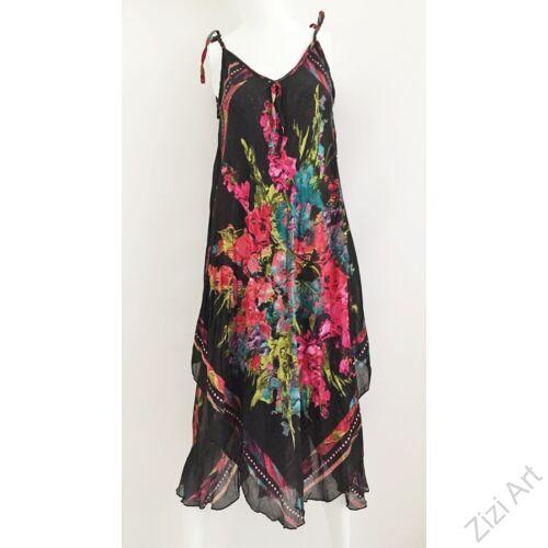 fekete, pink, piros, kék, zöld, hosszú, pamut, géz, ruha, török, bő, színes, virágos, spagettipántos, szellős, könnyű, különleges, női, divat, trend, webshop