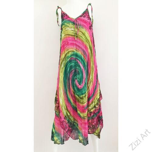 pink, rózsaszín, sárga, zöld, spirál, mintás, hosszú, pamut, géz, ruha, török, bő, színes, spagettipántos, szellős, könnyű, különleges, női, divat, trend, webshop