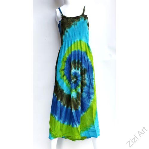 hosszú, ruha, színes, szivárvány, batikolt, spagettipántos, kék, kiwi, zöld, bordó, vidám, bohém, hippi, laza, női, divat, trend