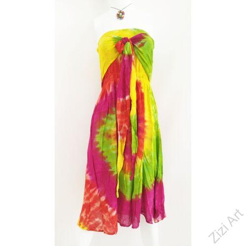 szivárvány, sárga, pink, zöld, világos, hosszú, viszkóz, ruha, rövid ujjú, Indonéz, színes, batikolt, gumírozott, szellős, könnyű, kényelmes, különleges, női, divat, trend, webshop