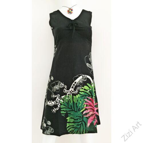 fekete, színes, pink, rózsaszín, virágos, kaméleon, ujjatlan, pamut, ruha, tunika, női, divat, ruházat, trend, India, egzotikus, egyedi, különleges, bohém, extravagáns, elegáns