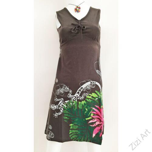 szürke, színes, pink, rózsaszín, virágos, kaméleon, ujjatlan, pamut, ruha, tunika, női, divat, ruházat, trend, India, egzotikus, egyedi, különleges, bohém, extravagáns, elegáns