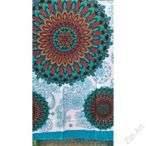sarong, kendő, strandkendő, pareo, fehér, kék, mandala, virág, mintás, nagy, sál, nyár, finom, puha, viszkóz, nyár