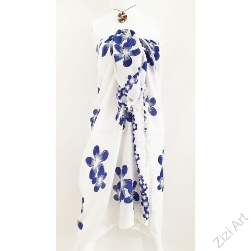 sarong, kendő, strandkendő, pareo, fehér, kék, virágos, nagy, sál, nyár, finom, puha, viszkóz